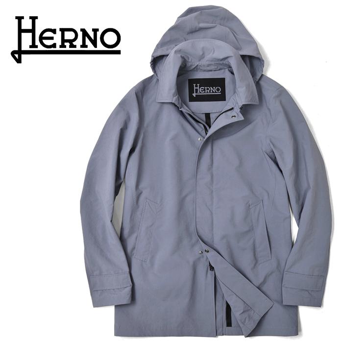 ヘルノ HERNO ステンカラーコート フード付き IM0207U(9010) ラベンダー 撥水 パウダーコーティング 2020春夏