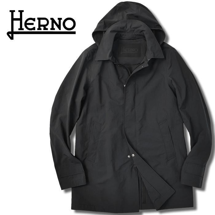 【クリアランス】ヘルノ HERNO ステンカラーコート フード付き IM0207U(9300) ブラック 黒 撥水 パウダーコーティング 2020春夏