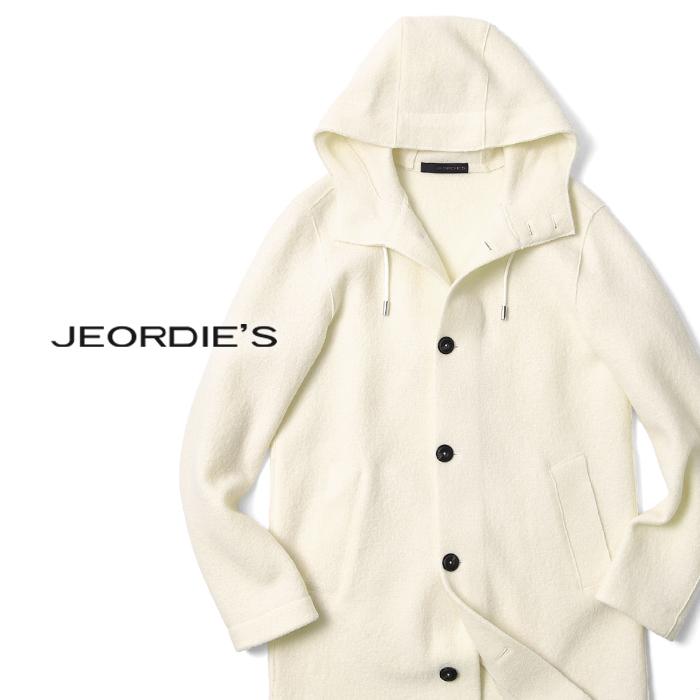 【クリアランス】ジョルディーズ JEORDIE'S 縮毛ウールコート フード付き 47227(142) オフホワイト ストレッチ 2019秋冬