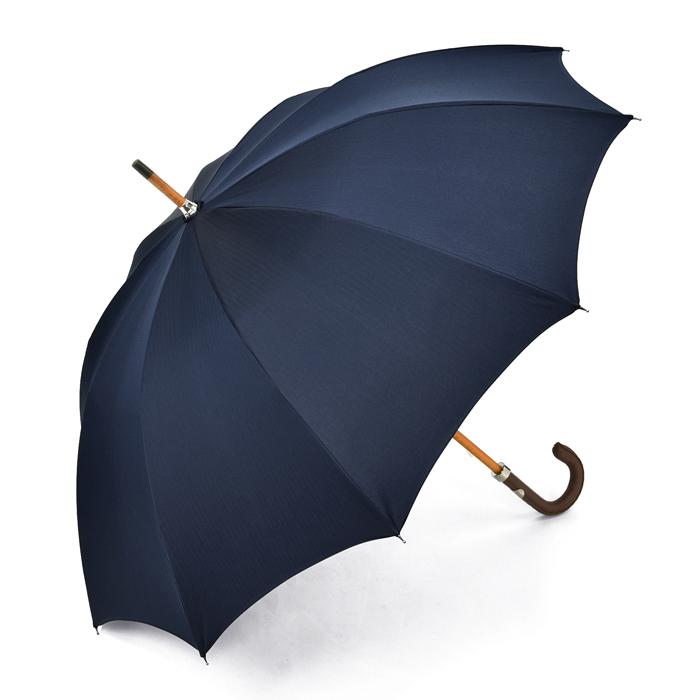マリアフランチェスコ MAGLIA FRANCESCO 長傘 ネイビー ヘリンボーン 【レザー 革 紳士 メンズ レディース 雨傘 アンブレラ イタリア】