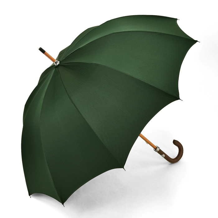 マリアフランチェスコ MAGLIA FRANCESCO 長傘 グリーン ヘリンボーン 【レザー 革 紳士 メンズ レディース 雨傘 アンブレラ イタリア】