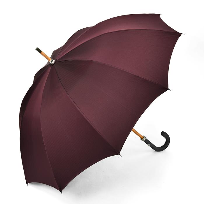 マリアフランチェスコ MAGLIA FRANCESCO 長傘 ボルドー ヘリンボーン 【レザー 革 バーガンディー 紳士 メンズ レディース 雨傘 アンブレラ イタリア】