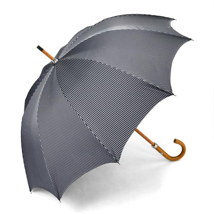 マリアフランチェスコ MAGLIA FRANCESCO 長傘 ネイビー×グレー ストライプ 【マラッカ 紳士 メンズ 雨傘 アンブレラ イタリア】