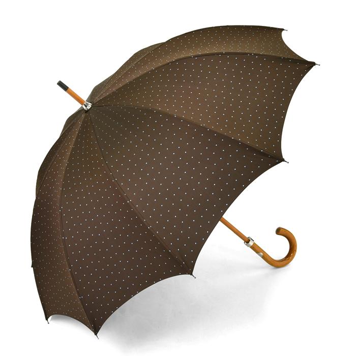 マリアフランチェスコ MAGLIA FRANCESCO 長傘 ブラウン×水色ドット 【マラッカ 紳士 メンズ 雨傘 アンブレラ イタリア】