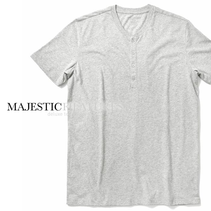 【24時間限定☆エントリーでP29倍】【クリアランス】マジェスティック フィラチュール オム MAJESTIC FILATURES Tシャツ ヘンリーネック グレー S18 09 006 春夏