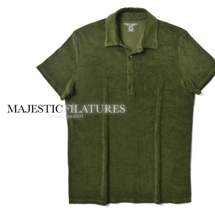【クリアランス】マジェスティック フィラチュール オム MAJESTIC FILATURES ポロシャツ 519-HPO017 オリーブ カーキ パイル メンズ 2019春夏