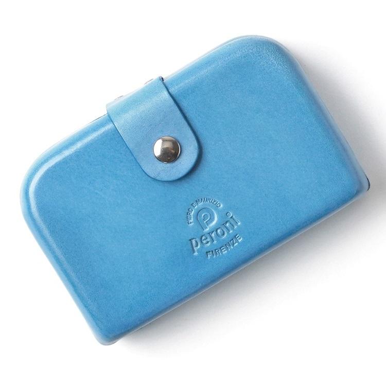 ペローニ PERONI FIRENZE ミニ財布 / ミニウォレット ライトブルー コインケース / カードケース / 札入れ GIRAMONDO(ジラモンド) 【小さい財布 コンパクト 本革 レザー プレゼント メンズ レディース】