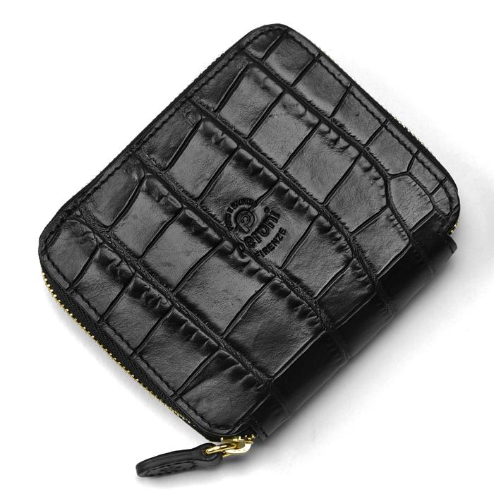 ペローニ PERONI FIRENZE ミニ財布 型押しクロコ ブラック / メンズ / レディース / ミニジップ / ラウンドファスナー / 小さい財布 / プレゼント 1609/K