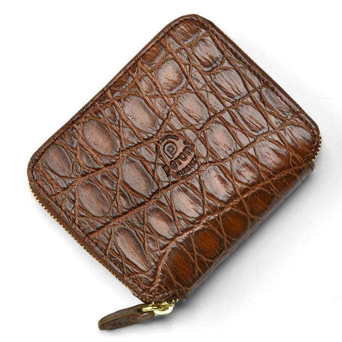 ペローニ PERONI FIRENZE ミニ財布 リアルクロコ ブラウン / メンズ / レディース / ミニジップ / ラウンドファスナー / 小さい財布 / プレゼント 1609/C