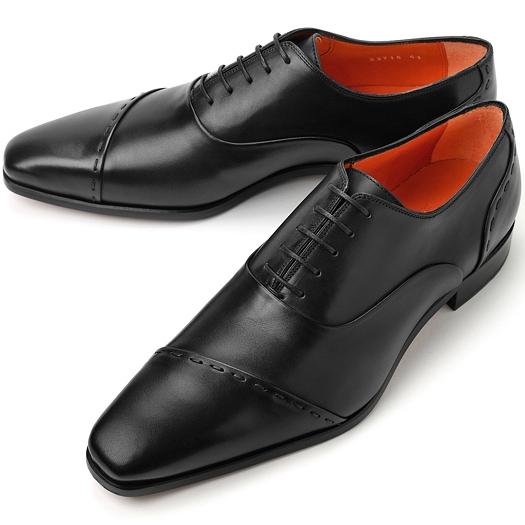 PERTINI ペルティニ ストレートチップ スランテッド 23715 ブラック【ドレスシューズ 革靴 ビジネスシューズ メンズ インポート】