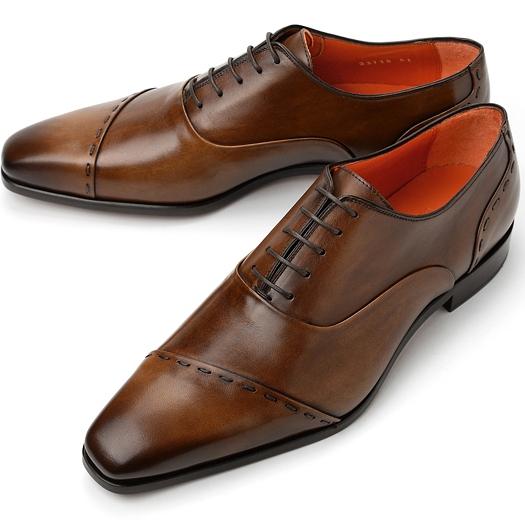 PERTINI ペルティニ ストレートチップ スランテッド 23715 ブラウン【ドレスシューズ 革靴 ビジネスシューズ メンズ インポート】