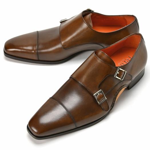 PERTINI ペルティニ オパンケ ダブルモンクストラップ 23564 ブラウン 【ドレスシューズ 革靴 ビジネスシューズ メンズ インポート】