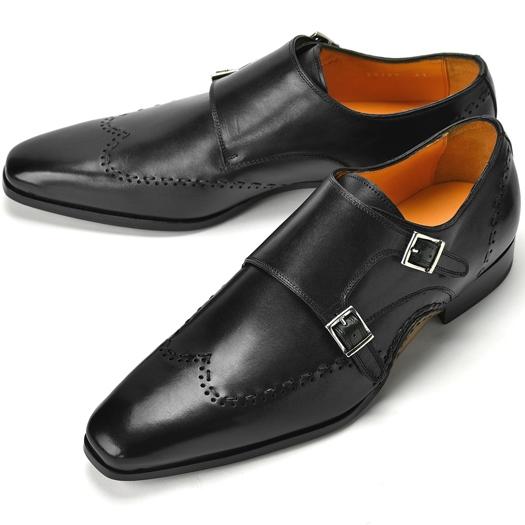 【クリアランス】PERTINI ペルティニ オパンケ ダブルモンクストラップ / ウイングチップ 23701 ブラック【ドレスシューズ 革靴 ビジネスシューズ メンズ インポート】