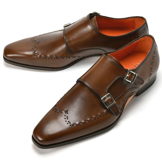 PERTINI ペルティニ オパンケ ダブルモンクストラップ / ウイングチップ 23701 ブラウン【ドレスシューズ 革靴 ビジネスシューズ メンズ インポート】