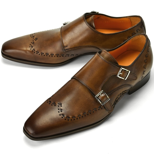 【クリアランス】PERTINI ペルティニ オパンケ ダブルモンクストラップ / ウイングチップ 23701 ブラウン【ドレスシューズ 革靴 ビジネスシューズ メンズ インポート】