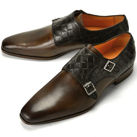 【クリアランス】PERTINI ペルティニ ダブルモンクストラップ 型押しクロコ切替 24388 ダークブラウン【ドレスシューズ 革靴 ビジネスシューズ メンズ インポート】