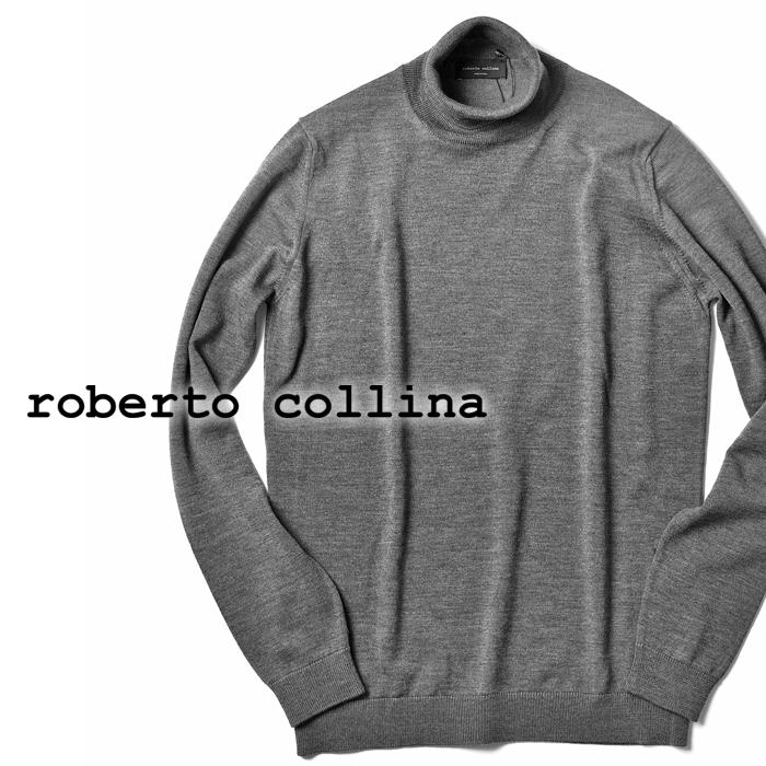【クリアランス】ロベルトコリーナ roberto collina ハイゲージニット タートルネック 1003 ミディアムグレー 2018秋冬【メンズ ニット インポート イタリア】