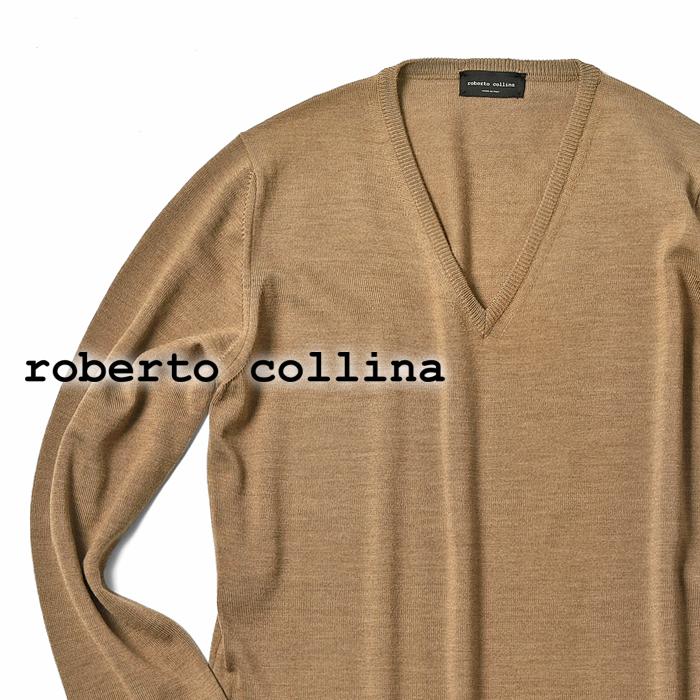 【クリアランス】ロベルトコリーナ roberto collina ニット ハイゲージ Vネック 1002 キャメル 秋冬【メンズ ニット インポート イタリア】