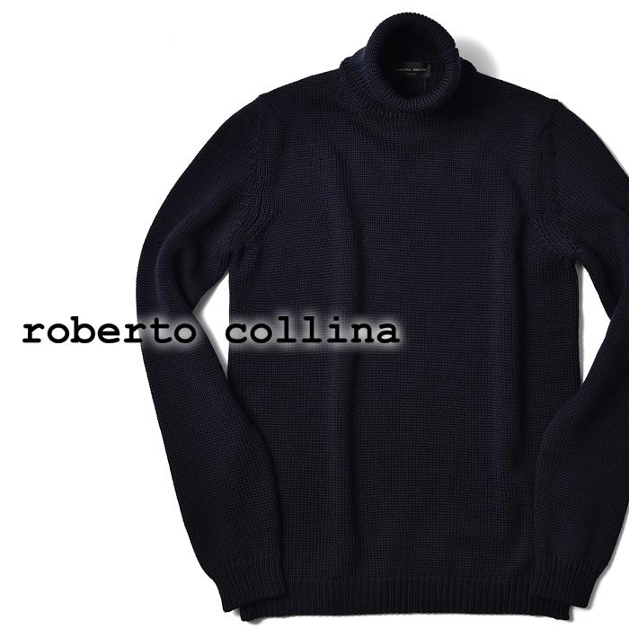 【クリアランス】ロベルトコリーナ roberto collina ニット ミドルゲージ タートルネック 2003 ネイビー 秋冬【メンズ ニット インポート イタリア】