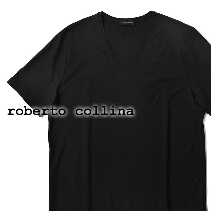 【24時間限定☆エントリーでP29倍】【クリアランス】ロベルトコリーナ roberto collina Tシャツ Vネック 90022 ブラック 春夏