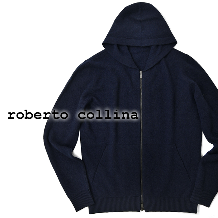 【クリアランス】ロベルトコリーナ roberto collina ニットフーディ 38007 ネイビー 2019秋冬【メンズ ニット インポート イタリア】