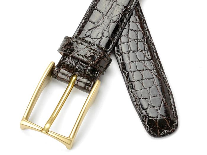 萨德勒的马具鳄鱼皮带 3.0 厘米宽暗棕色马具师