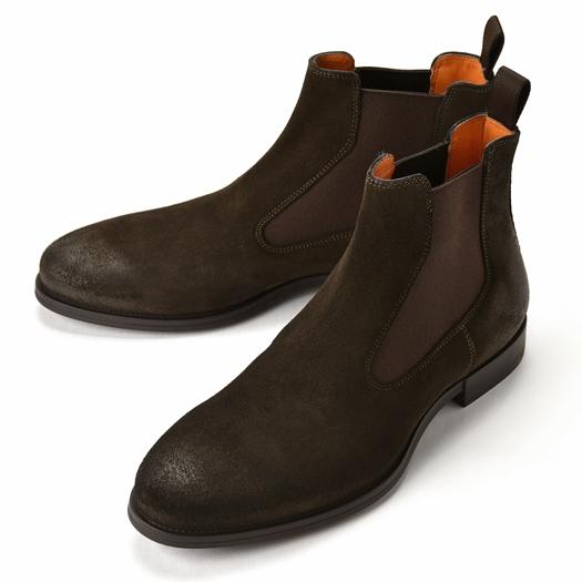 【クリアランス】【返品不可】サントーニ SANTONI 15307 サイドゴアブーツ スエード ダークブラウン【ドレスシューズ 革靴 ビジネス メンズ】