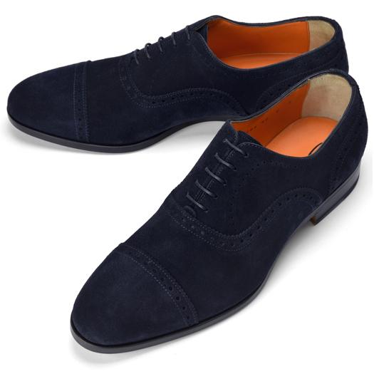 サントーニ SANTONI 14284 ストレートチップ ネイビー メダリオン【ドレスシューズ 革靴 ビジネス メンズ】