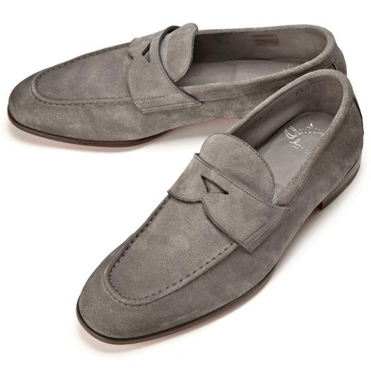 サントーニ SANTONI 13903 ローファー スエード グレー【ドレスシューズ 革靴 ビジネス メンズ】