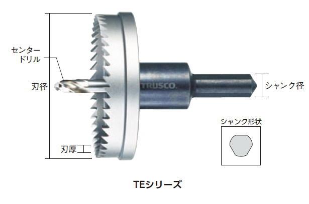 TRUSCO(トラスコ)E型ホールカッター 115mm、有効長:1.6mm 刃厚:2.4mm、シャンク径:13mm