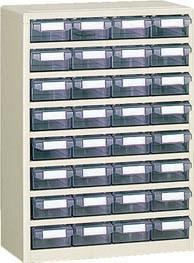 TRUSCO(トラスコ)引出しタイプパーツケース C型 4列8段 ケース:透明