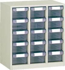 TRUSCO(トラスコ)引出しタイプパーツケース D型 3列5段 ケース:透明