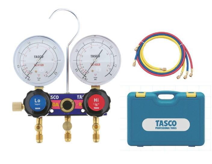 TASCO(タスコ)R410A/R32用サイトグラス付ゲージマニホールドセット 150cmホース付 冷暖兼用 TA122JH-2