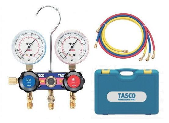 TASCO(タスコ)R410A/R32用サイトグラス付ゲージマニホールドセット 92cmホース付 TA122F-1