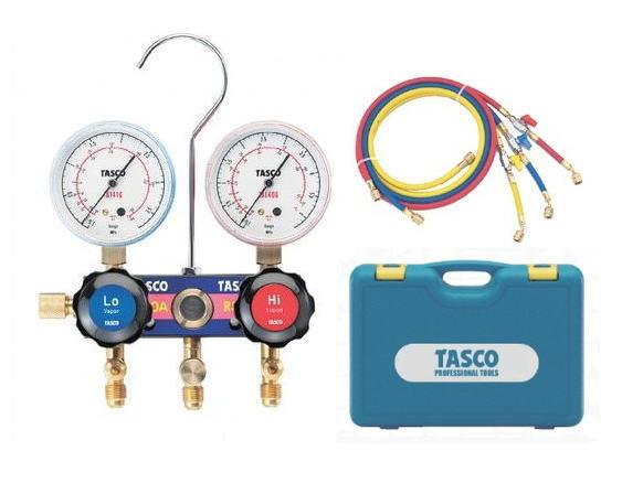 TASCO(タスコ)R410A/R32用サイトグラス付ゲージマニホールドセット 150cmバルブ付きホース付 TA122FV-2