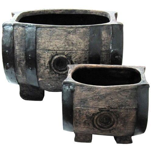 樽型プランター(S・Lセット)S型:幅25cm×奥行22cm×高さ22cmL型:幅43cm×奥行37cm×高さ33cm