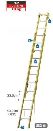 ハセガワFRP2連はしご電気工事・電設作業用USG-64