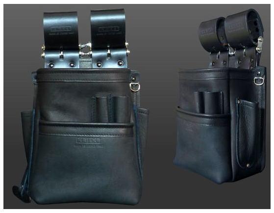 KNICKS(ニックス)自在型チェーンタイプ 総グローブ革2段腰袋 KB-201SPDX
