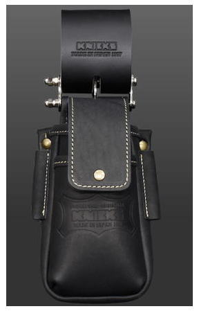 KNICKS(ニックス)蓋付き総ヌメ革チェーンタイプ小物腰袋(黒)KBS-201DSDXF