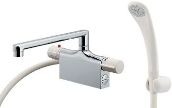 カクダイ JISサーモスタットシャワー混合栓 デッキタイプ 取付穴芯々120mm