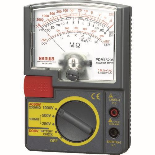 サンワ(SANWA)アナログ絶縁抵抗計 1000V/500V/250V PDM1529S