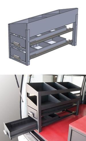 車載用収納システム システムキャビネット 普通車用 サイド棚 引き出し2段+棚1段 右用