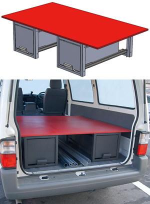 車載用収納システム システムキャビネット 普通車用 連結引き出し天板セット 1400×780mm