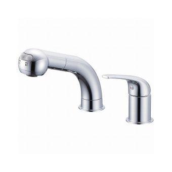 サンエイ(三栄水栓)シングルスプレー混合栓(洗髪用)寒冷地用洗面所用K37010JK