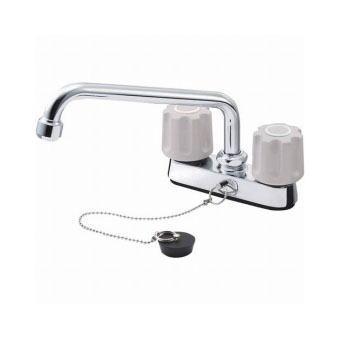 サンエイ(三栄水栓)ツーバルブ台付混合栓 (ゴム栓付)バスルーム用K711R-LH