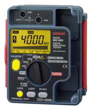 サンワ(SANWA)デジタル絶縁抵抗計 1000V/500V/250V MG1000