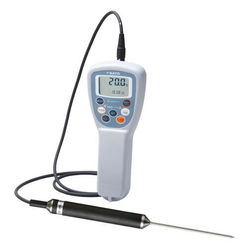 SATO(佐藤計量器)防水型食品用デジタル温度計(時計機能付)SK-250WPII-T