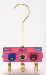 TASCO(タスコ)R410A R32 ボールバルブ式マニホールドボディーTA122K-11