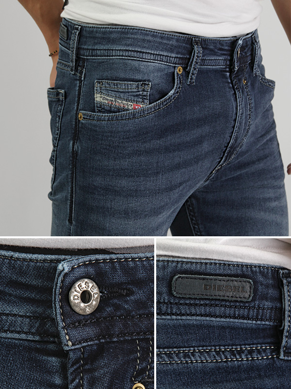 JOGG 牛仔裤牛仔裤运动衫牛仔布挥金如土的人 NE 0607R 低腰瘦慢跑运动裤男装
