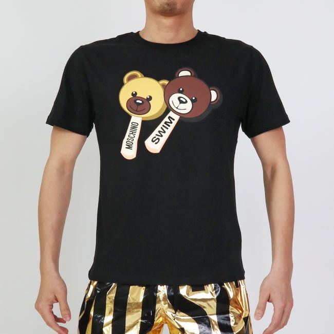 MOSCHINO モスキーノ 半袖Tシャツ 半袖 T ICE CREAM TEDDY BLACK 黒 クルーネック ブラック コットン メンズ 男性 【moschino モスキーノ】